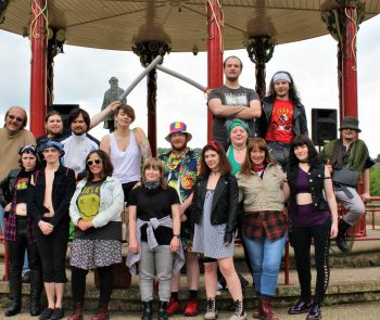 The Saltaire Shakespeare company at the bandstand in Roberts Park.